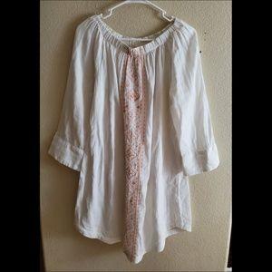 Garnet Hill White Embroidered Boho Cotton Dress